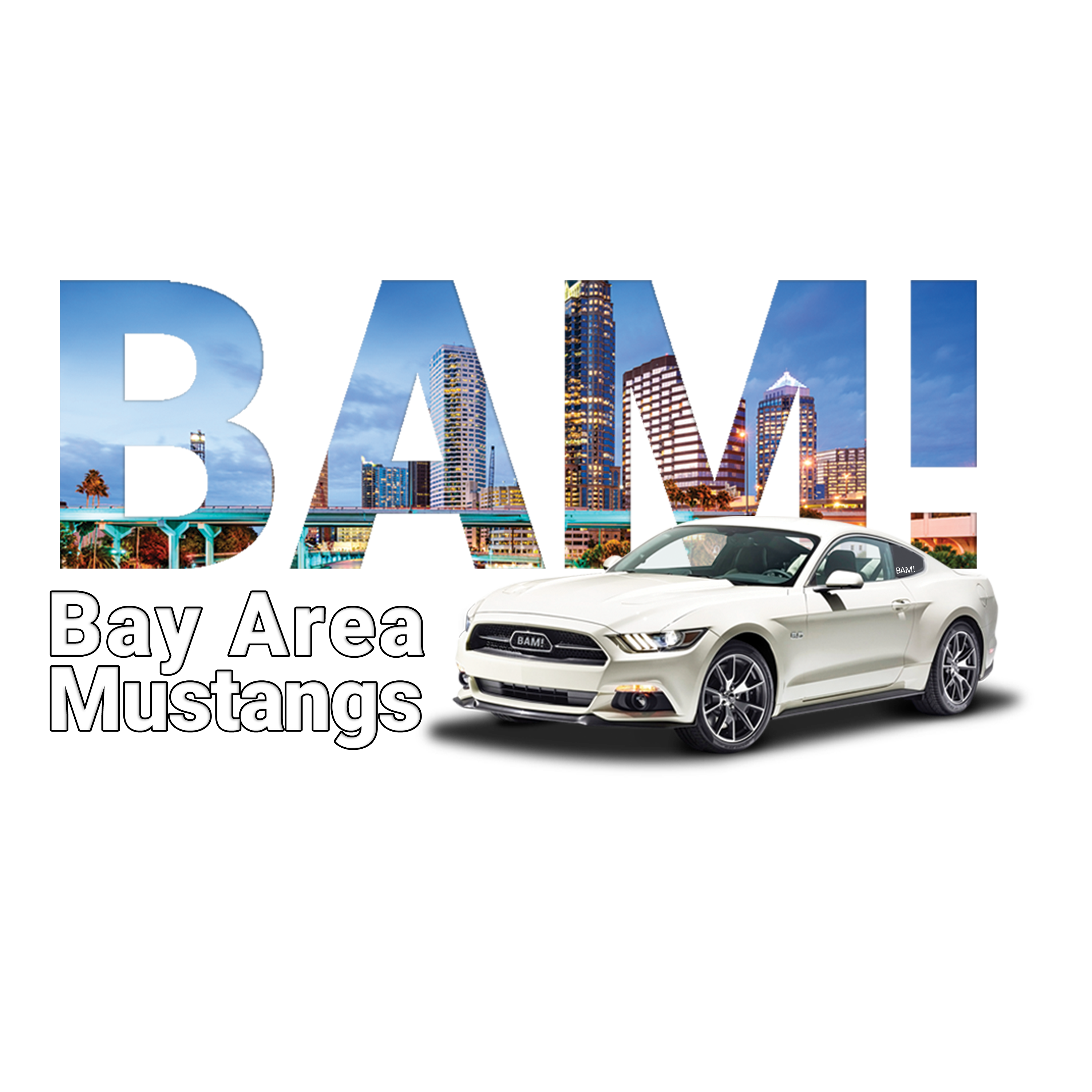 White Mustang with BAM in the background